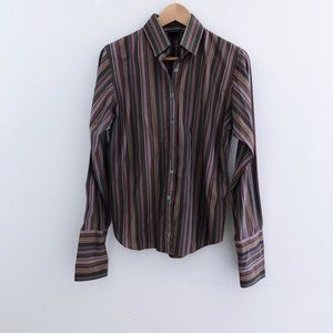 Pink Tartan Striped Button Down Shirt
